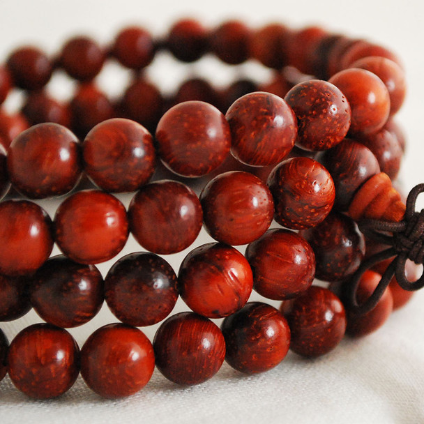 Natural Red Willow Rosewood Round Wood Beads - 108 beads - Mala Prayer Beads - 6mm, 8mm