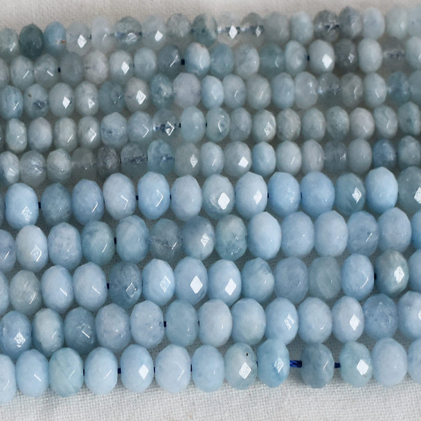High Quality Grade A Natural Aquamarine Semi-Precious Gemstone Faceted Rondelle / Spacer Beads - 3mm, 4mm, 6mm, 8mm sizes