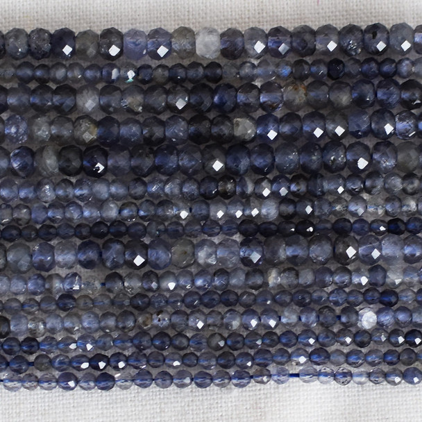 High Quality Grade A Natural Iolite Semi-Precious Gemstone Faceted Rondelle / Spacer Beads - 3mm, 4mm sizes