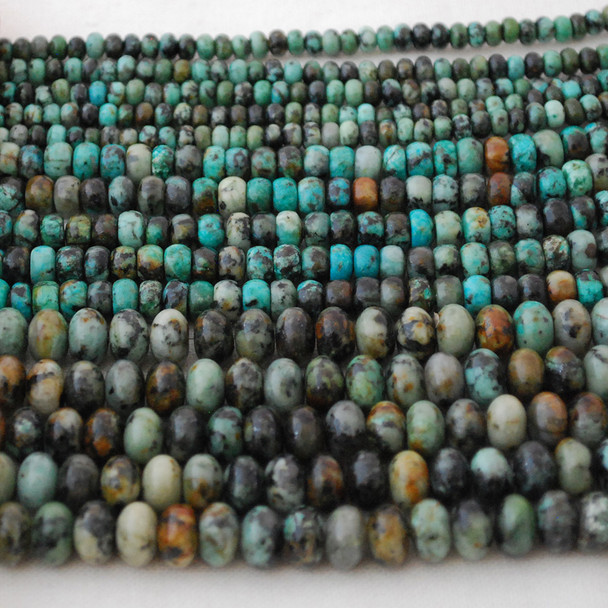 High Quality Grade A Natural African Turquoise Semi-Precious Gemstone Rondelle / Spacer Beads - 6mm, 8mm sizes