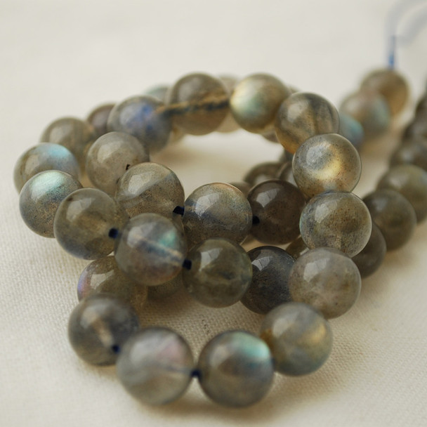 "High Quality Grade AAA Natural Labradorite Semi-Precious Gemstone Round Beads - 6mm - 15"" long"