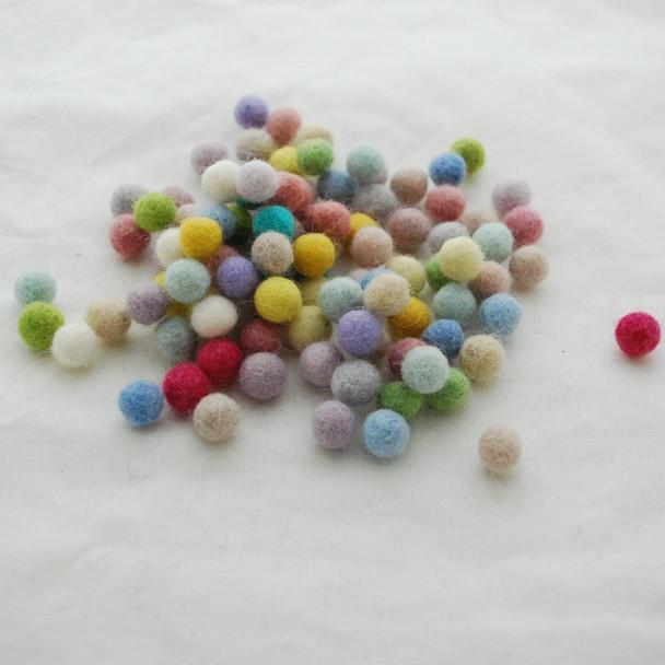 100% Wool Felt Balls - 100 Count - Light, Pale and Pastel Colours - 1cm