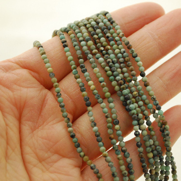 "High Quality Grade A Natural African Turquoise Semi-Precious Gemstone Round Beads - 2mm - 15.5"" long"