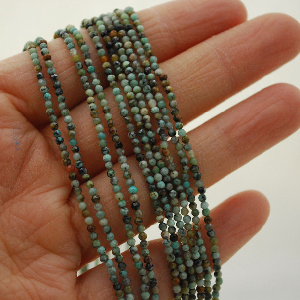 "High Quality Grade A Natural African Turquoise Semi-Precious Gemstone FACETED Round Beads - 2mm - 15.5"" long"