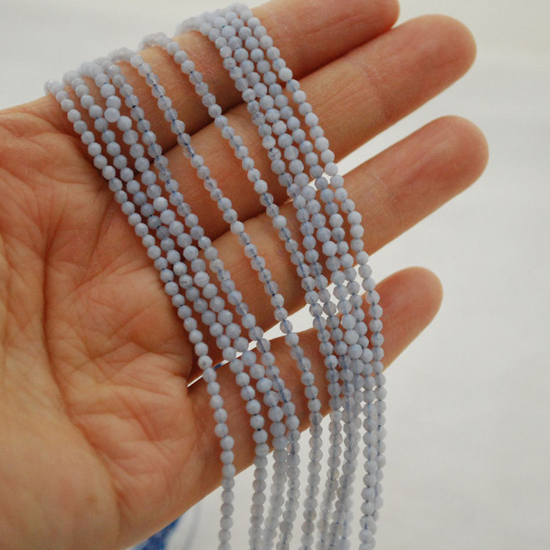 """High Quality Grade A Natural Blue Lace Agate Semi-Precious Gemstone FACETED Round Beads - 2mm - 15.5"""" long"""