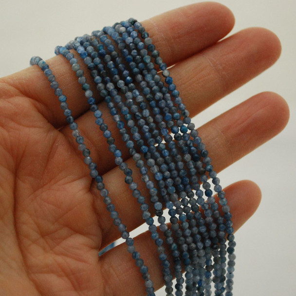 """High Quality Grade A Natural Kyanite Semi-Precious Gemstone FACETED Round Beads - 2mm - 15.5"""" long"""