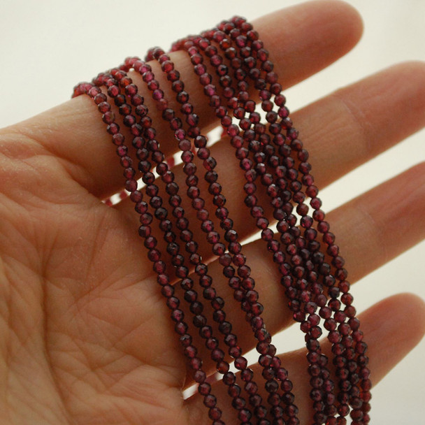 "High Quality Grade A Natural Garnet Semi-Precious Gemstone FACETED Round Beads - 2mm - 15.5"" long"