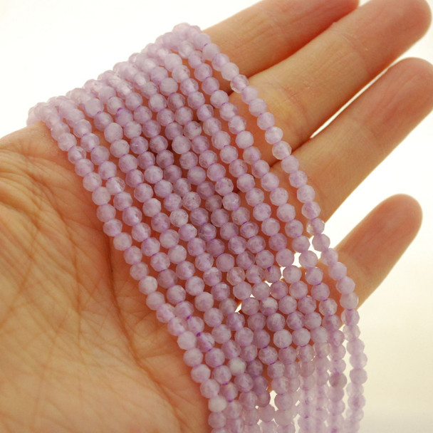 "High Quality Grade A Natural Lavender Amethyst Semi-Precious Gemstone FACETED Round Beads - 4mm - 15.5"" long"