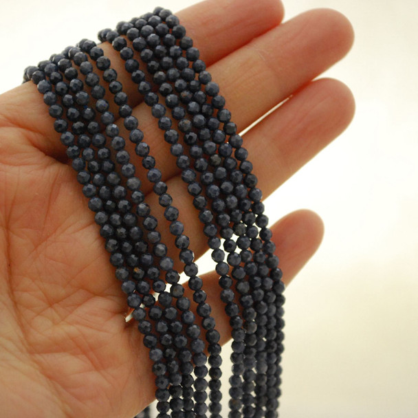 "High Quality Grade A Natural Sapphire Semi-Precious Gemstone FACETED Round Beads - approx 3mm - 15.5"" long"