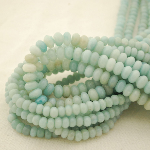 "High Quality Grade A Natural Amazonite Semi-Precious Gemstone Rondelle Spacer Beads - 6mm, 8mm sizes - 15.5"" long"