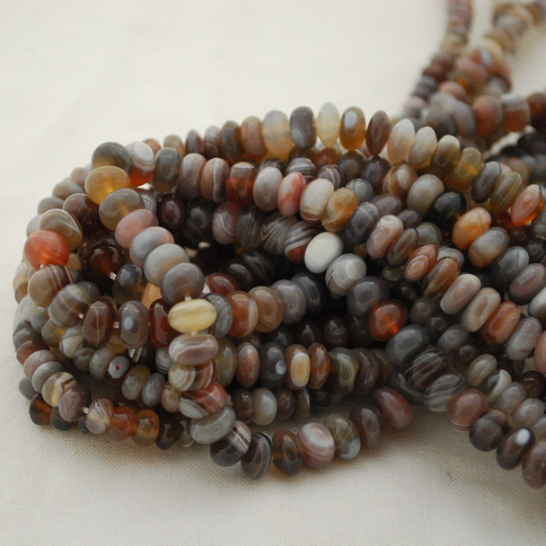 "High Quality Grade A Natural Botswana Agate Semi-Precious Gemstone Rondelle Spacer Beads - 6mm, 8mm sizes - 15.5"" long"