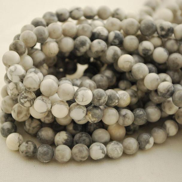 "High Quality Grade A Natural Grey White Howlite Semi-Precious Gemstone Round Beads - 4mm, 6mm, 8mm, 10mm sizes - 15.5"" long"