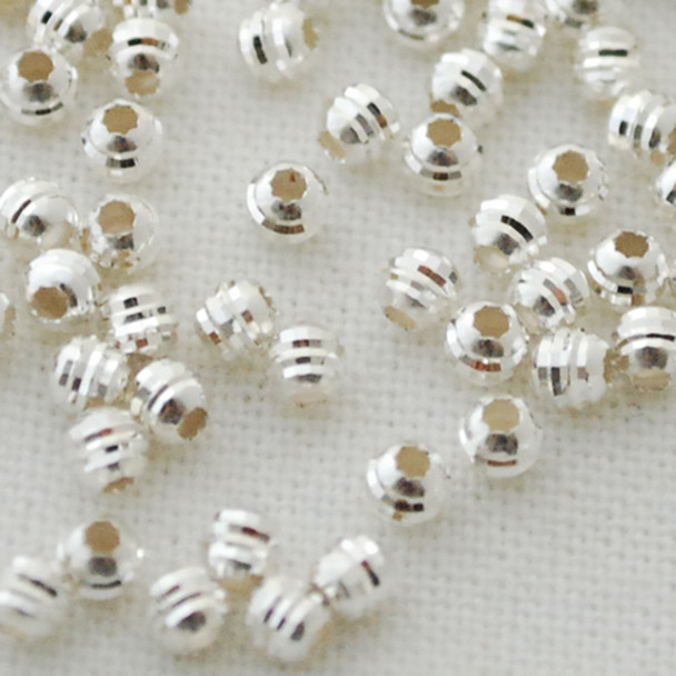 Italian 925 Sterling Silver Findings - 50 Sterling Silver Diamond Cut Round Beads - 3mm - Made in Italy (Ref-XL)