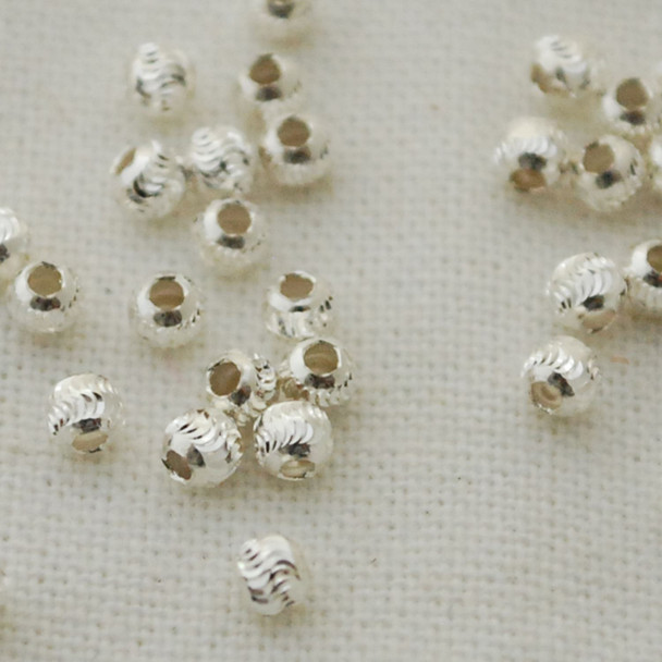 Italian 925 Sterling Silver Findings - 50 Sterling Silver Diamond Cut Round Beads - 3mm - Made in Italy (Ref-SS)