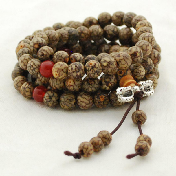 Natural Lotus Bodhi Seeds with lines Round Wood Beads - 108 beads - Mala Prayer Beads - approx 6mm