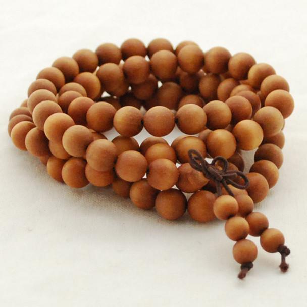 Natural Fragrant Barbie Sandalwood Round Wood Beads - 108 beads - Mala Prayer Beads - 6mm, 8mm