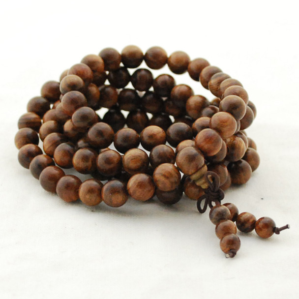Natural Black Rosewood Round Wood Beads - 108 beads - Mala Prayer Beads - 6mm, 8mm