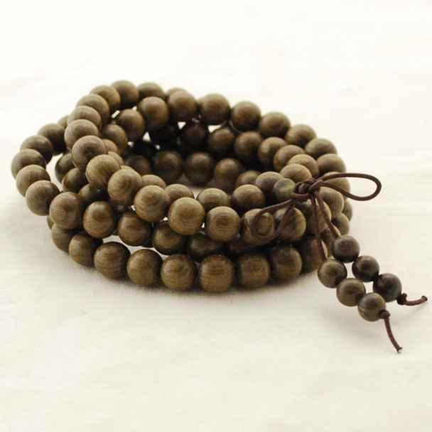 Natural Dark Green Phoebe Silk Zhennan Round Wood Beads - 108 beads - Mala Prayer Beads - 6mm, 8mm