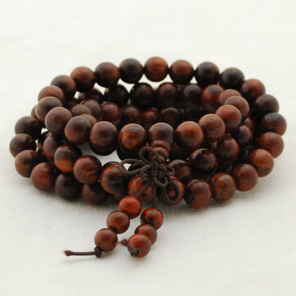 Natural Dark Red Rosewood Round Wood Beads - 108 beads - Mala Prayer Beads - 6mm, 8mm