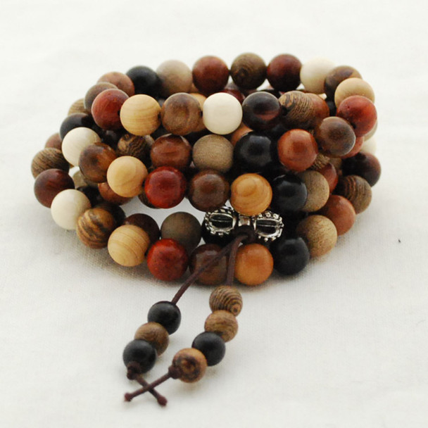 Mixed Natural Sandalwood Rosewood Phoebe Senna Round Wood Beads - 108 beads - Mala Prayer Beads - 6mm, 8mm