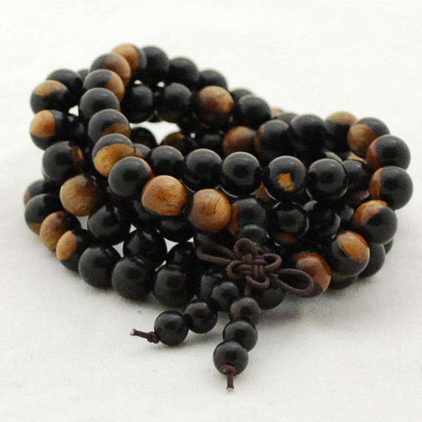 Natural Yellow Black YinYang Sandalwood Round Wood Beads - 108 beads - Mala Prayer Beads - 6mm, 8mm