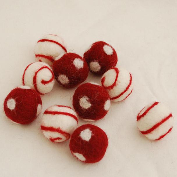 100% Wool Felt Balls - 10 Count - Polka Dots Felt Balls & Swirl Felt Balls - Light Wine Red - approx 2.5cm