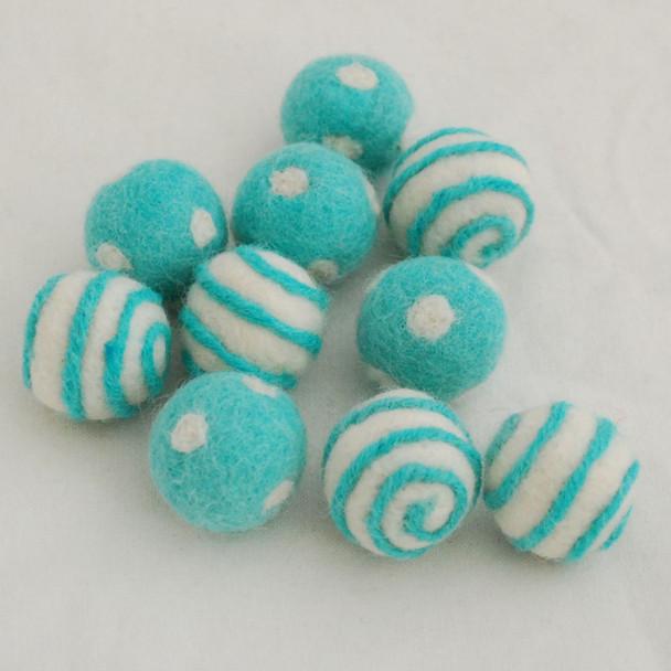 100% Wool Felt Balls - 10 Count - Polka Dots Felt Balls & Swirl Felt Balls - Light Turquoise Blue - approx 2.5cm