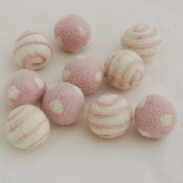 100% Wool Felt Balls - 10 Count - Polka Dots Felt Balls & Swirl Felt Balls - Light Baby Pink - approx 2.5cm
