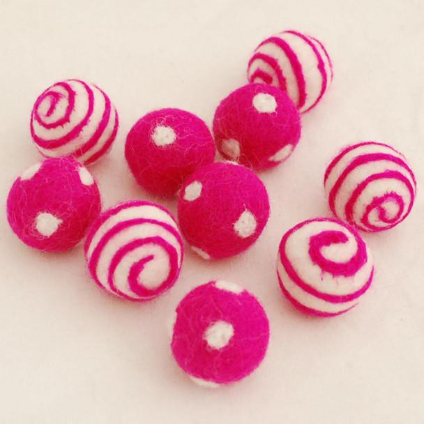 100% Wool Felt Balls - 10 Count - Polka Dots Felt Balls & Swirl Felt Balls - Fuchsia Pink - approx 2.5cm