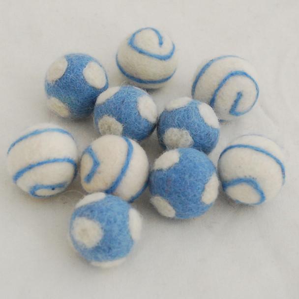 100% Wool Felt Balls - 10 Count - Polka Dots Felt Balls & Swirl Felt Balls - French Blue - approx 2.5cm