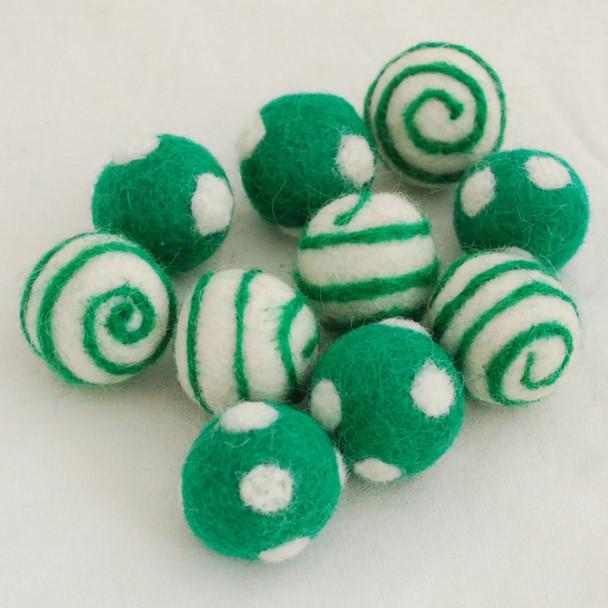 100% Wool Felt Balls - 10 Count - Polka Dots Felt Balls & Swirl Felt Balls - Forest Green - approx 2.5cm