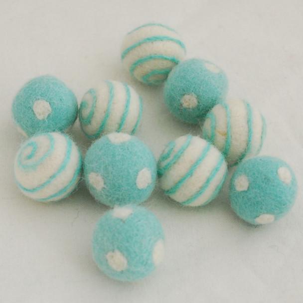 100% Wool Felt Balls - 10 Count - Polka Dots Felt Balls & Swirl Felt Balls - Deep Mint Blue - approx 2.5cm