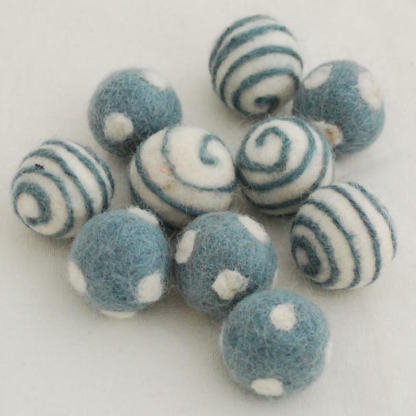 100% Wool Felt Balls - 10 Count - Polka Dots Felt Balls & Swirl Felt Balls - Dark Morning Blue - approx 2.5cm
