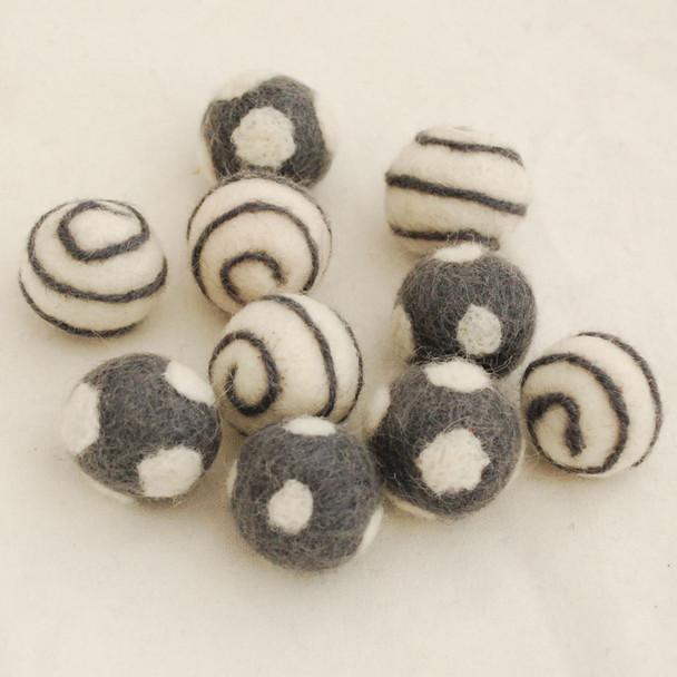 100% Wool Felt Balls - 10 Count - Polka Dots Felt Balls & Swirl Felt Balls - Ash Grey - approx 2.5cm