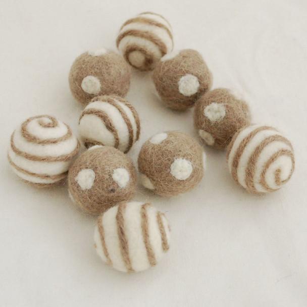 100% Wool Felt Balls - 10 Count - Polka Dots Felt Balls & Swirl Felt Balls - Dark Latte - approx 2.5cm