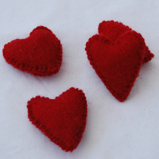 100% Wool Felt Fabric Hand Sewn / Stitched Felt Heart - 2 Count - approx 5.5cm - Red