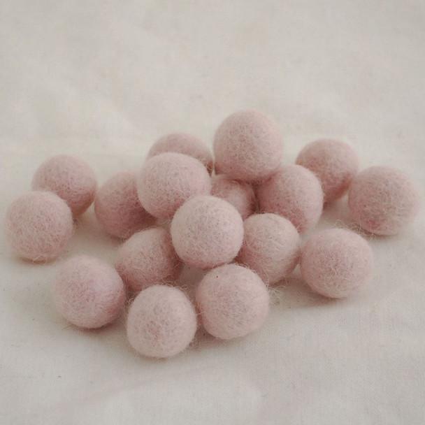 100% Wool Felt Balls - 10 Count - 1.5cm - Light Baby Pink