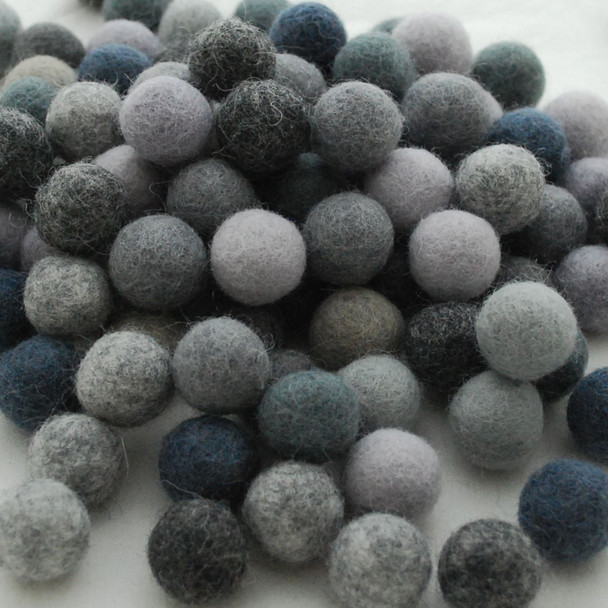 100% Wool Felt Balls - 100 Count - 2cm - Assorted Grey Colours