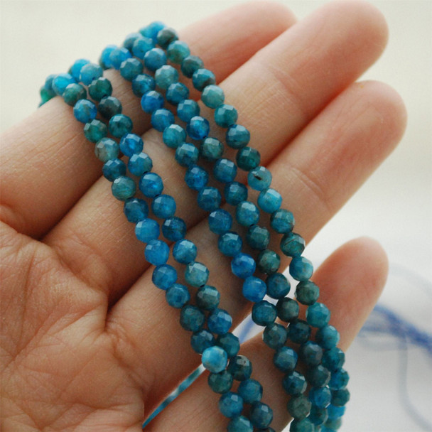 """High Quality Grade A Natural Apatite (Teal Blue)  Semi-Precious Gemstone FACETED Round Beads - approx 4mm - 15.5"""" long"""