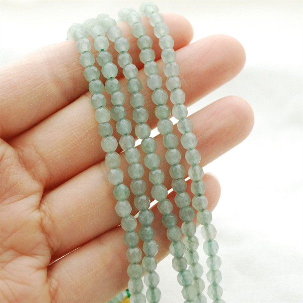 "High Quality Grade A Natural Green Aventurine FACETED Round Gemstone Beads - approx 4mm - 15.5"" long"