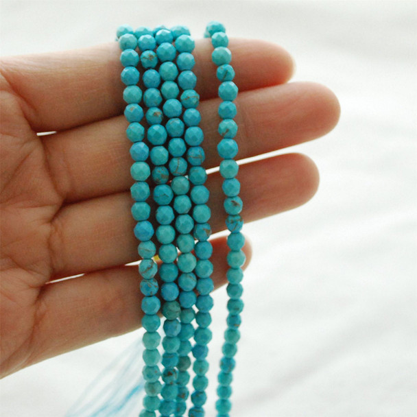 "High Quality Grade A Turquoise (dyed) Semi-Precious Gemstone FACETED Round Beads - approx 4mm - 15.5"" long"