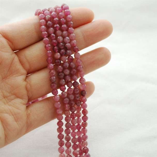 "High Quality Grade A Natural Pink Tourmaline Semi-Precious Gemstone FACETED Round Beads - approx 4mm - 15.5"" long"