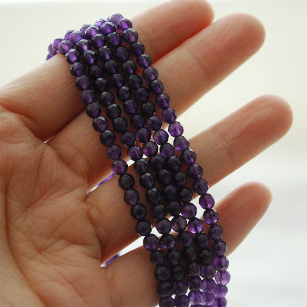 "High Quality Grade A Natural Amethyst Semi-Precious Gemstone FACETED Round Beads - approx 4mm - 15.5"" long"