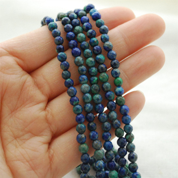 "High Quality Azurite (dyed) Semi-precious Gemstone FACETED Round Beads - approx 4mm - 15.5"" long"