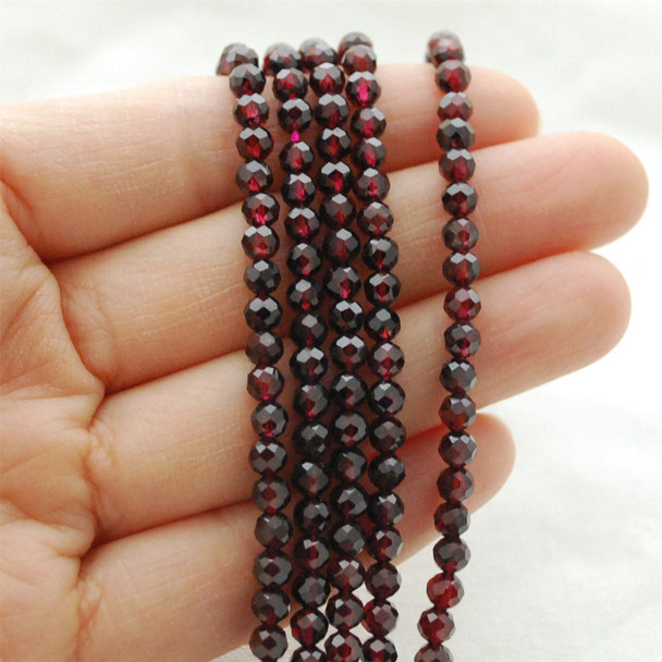 """High Quality Grade A Natural Garnet Semi-Precious Gemstone FACETED Round Beads - approx 4mm - 15.5"""" long"""