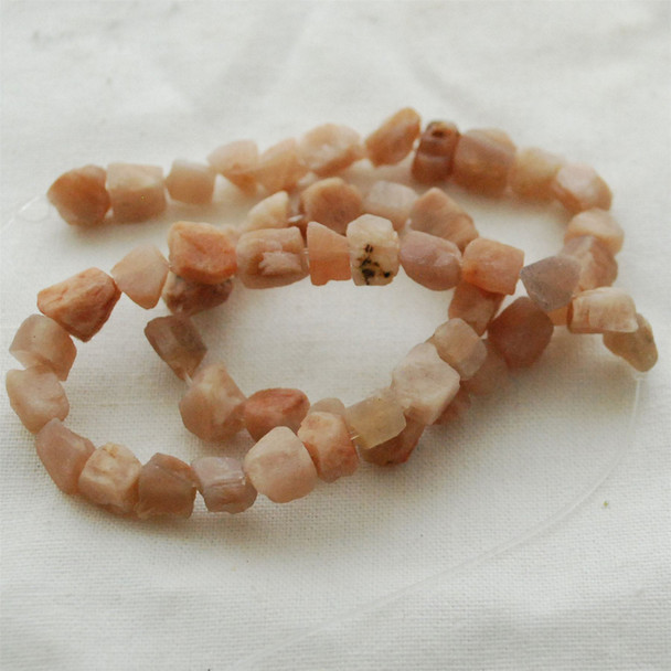 "Raw Natural Peach Moonstone Semi-precious Gemstone Chunky Nugget Beads - approx 6mm - 8mm x 8mm - 10mm - approx 15"" long strand"
