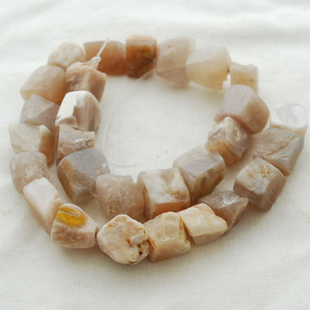"Raw Natural Peach Moonstone Semi-precious Gemstone Chunky Nugget Beads - approx 13mm - 15mm x 18mm - 22mm - approx 15"" long strand"