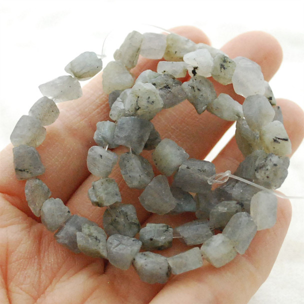 "Raw Natural Labradorite Semi-precious Gemstone Chunky Nugget Beads - approx 6mm - 8mm x 8mm - 10mm - approx 15"" long strand"