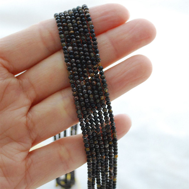"""High Quality Grade A Natural Blue Tiger Eye Semi-Precious Gemstone FACETED Round Beads - 2mm - 15.5"""" long"""
