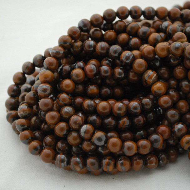"High Quality Grade A Natural Yellow Iron Tiger Eye Semi-Precious Gemstone Round Beads - 4mm, 6mm, 8mm, 10mm sizes - 15.5"" long"
